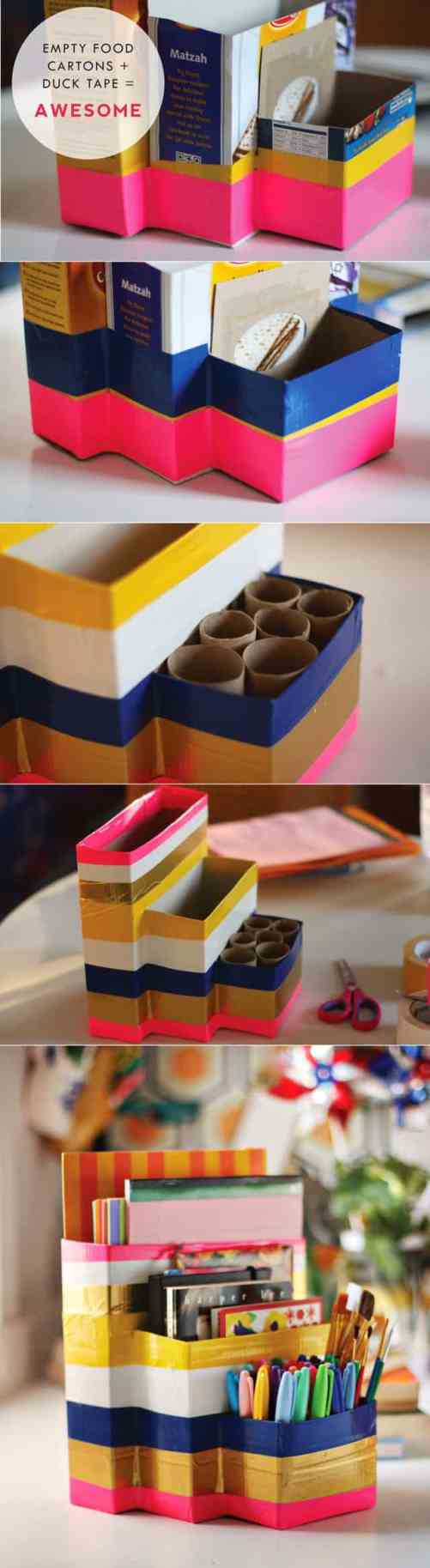 Awesome ways to recycle cereal boxes . A desk organizer from cardboard boxes and duck tape - neat!