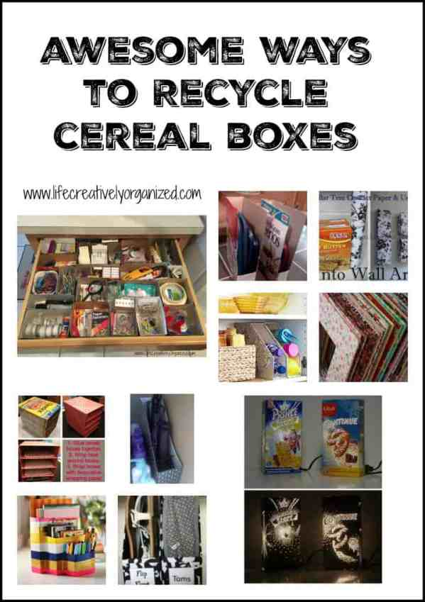 Awesome ways to recycle cereal boxes - including storage for kitchen, bedroom and office. Even wall art and as a lamp! Really!
