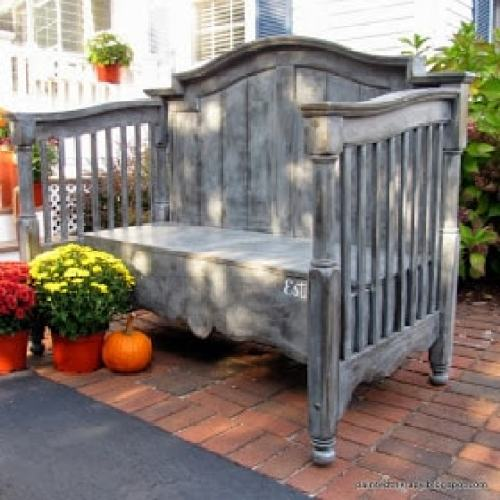 10 ways to repurpose a baby crib - gorgeous outdoor bench
