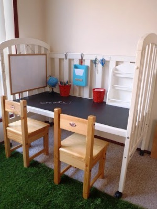 10 ways to repurpose a baby crib - make a child's desk