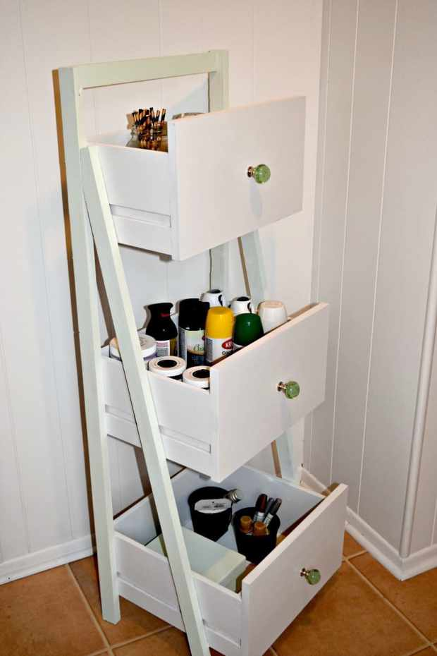 16 fabulous ways to repurpose old dresser drawers - ladder shelf organizer