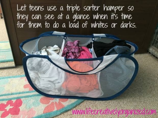 10 ways to make doing kids' laundry easier! Laundry triple sorter for teens to do their own laundry.