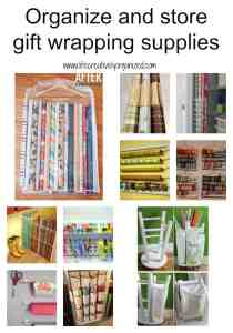 Today I have put together some ways to tame the mess, organize gift wrapping supplies and make wrapping gifts a breeze.