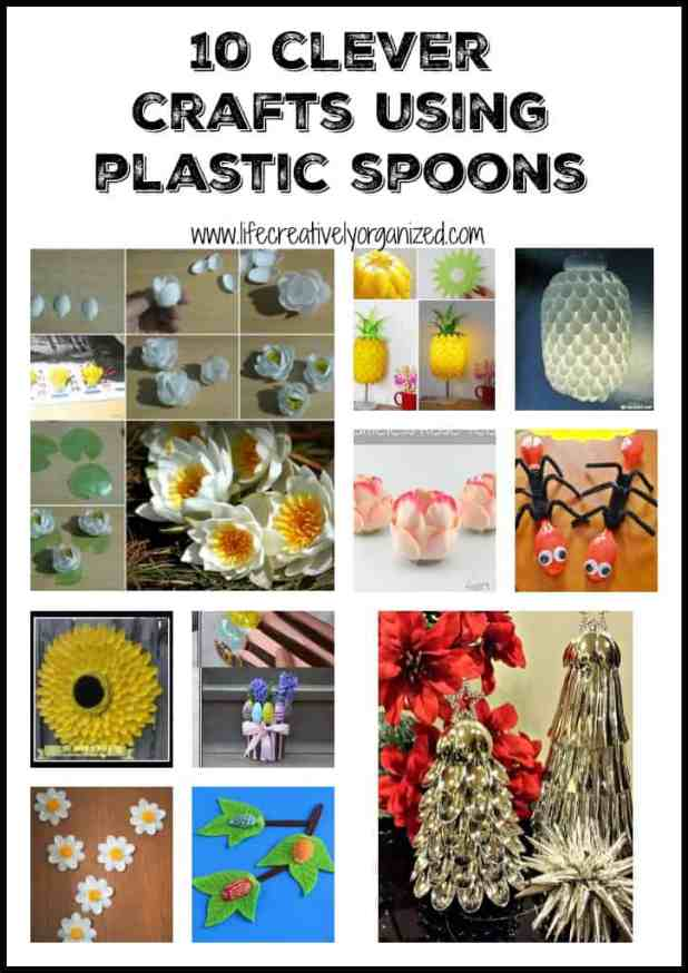 Looking for an inexpensive craft idea? Here are 10 clever crafts using plastic spoons including flowers, lamps, Christmas trees, and gorgeous wreaths!
