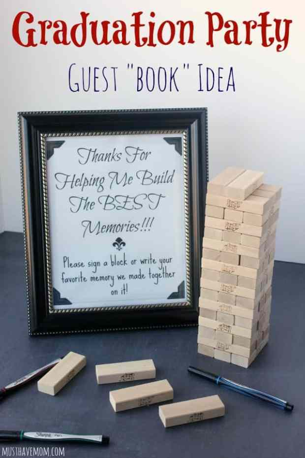 Graduation party decorations - have guests sign a Jenga piece or write notes for the graduate. Free printable sign.