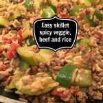 Easy skillet spicy veggie, beef and rice.