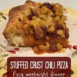 Stuffed crust chili pizza? Yes, please! An easy weeknight dinner made with corn and chili on a mozzarella-stuffed crust that is done in under 30 minutes.