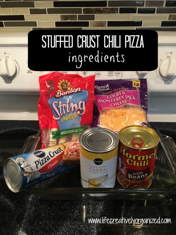 Stuffed crust chili pizza ingredients.