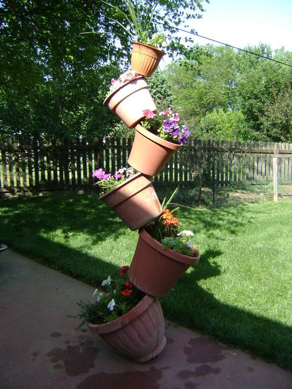 Outdoor decorating - tipsy planter