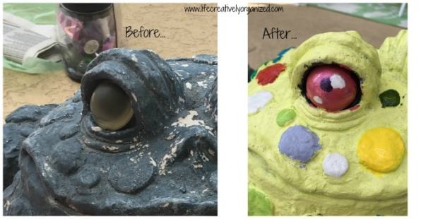 Update old lawn ornaments with paint to give them a whole new look! Closeup of painted eyes.