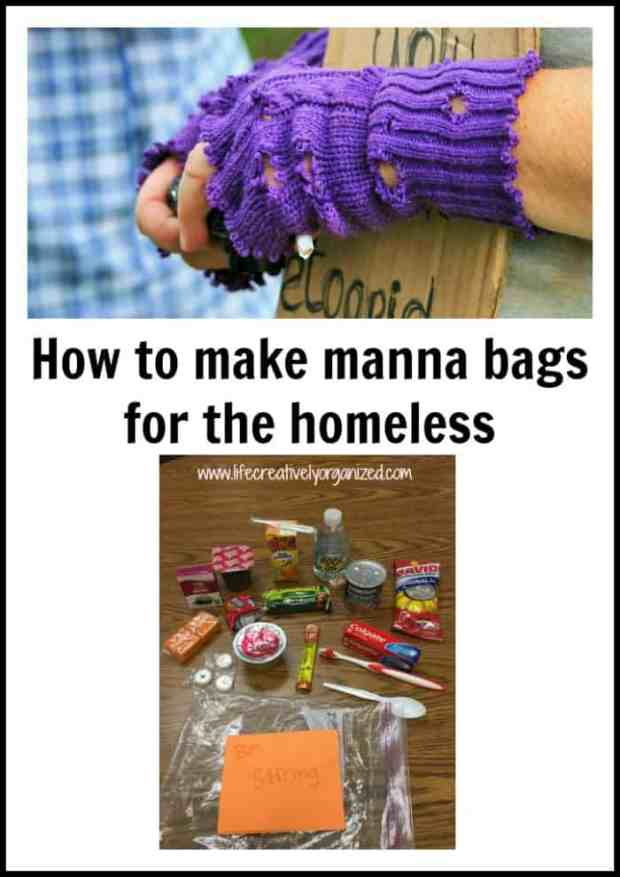 "How to make manna bags - a gift for the homeless. A real way to help the person standing on the corner with a sign that says ""Hungry. Please help."""