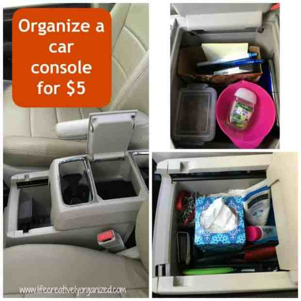 Switching to a new vehicle means finding new places for everything. Here is how to organize a car console for $5 using dollar store items & cardboard boxes!