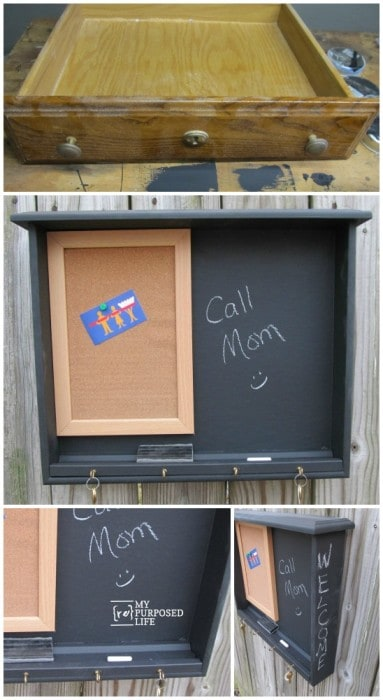 Entryway organization ideas - Repurposed drawer into message center