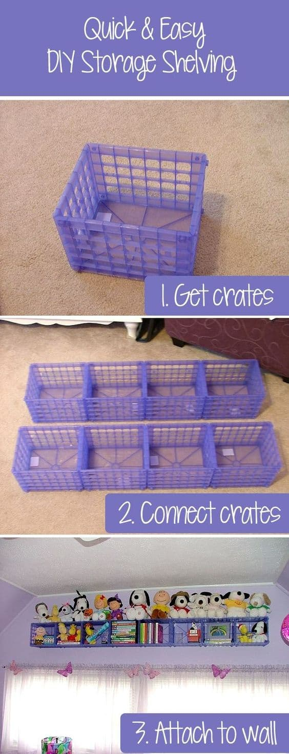 Hanging Storage Crates To Hold Stuffed Toys.