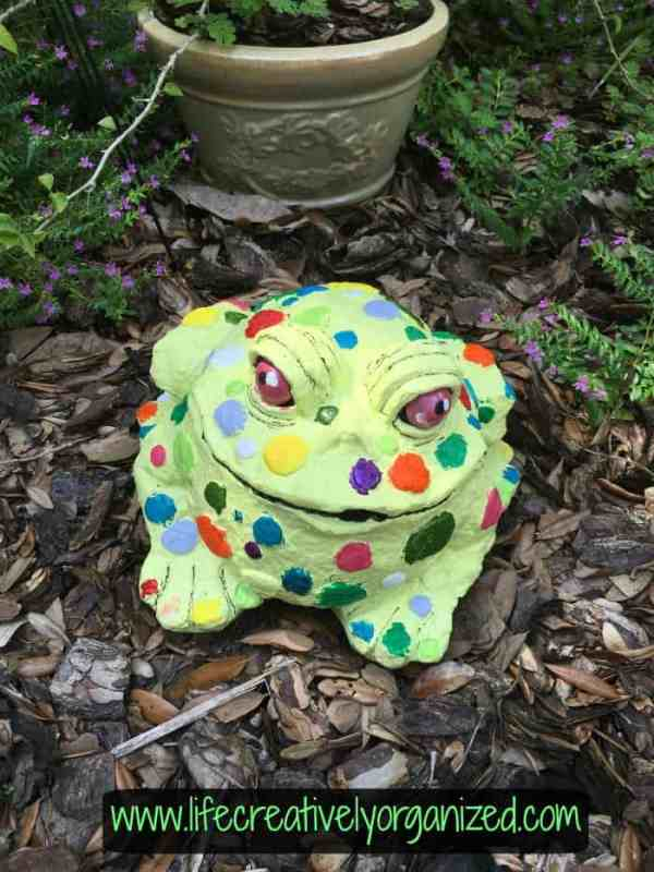Plaster toad after being painted. Update old lawn ornaments with paint to give them a whole new look!