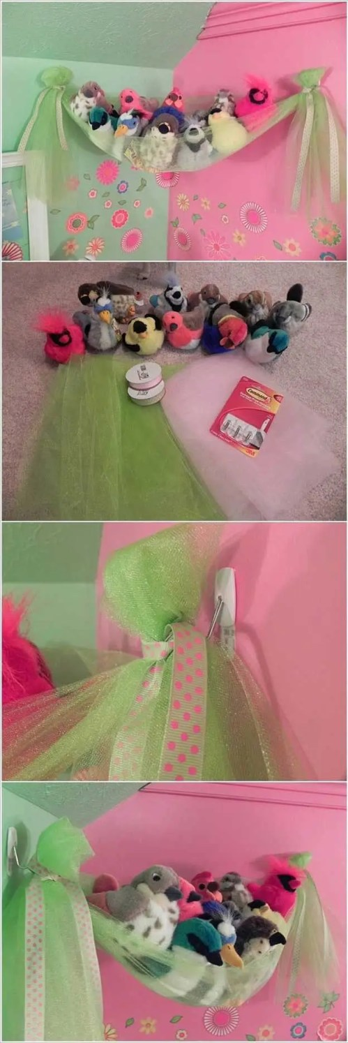 tulle DIY stuffed toy storage