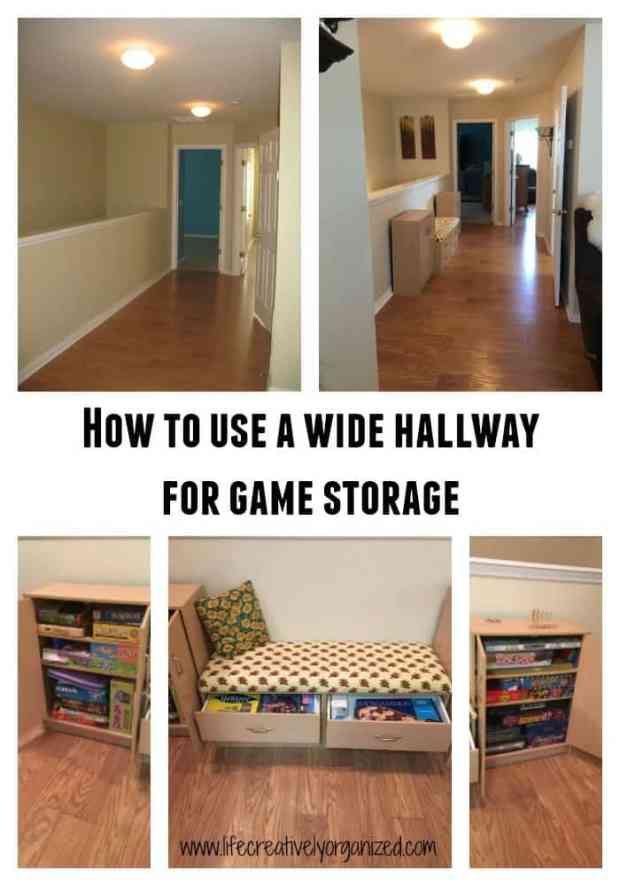 With 3 kids, we have a lot of board games. Here's how we used a wide hallway for game storage that easily holds all of our games and has seating in it, too. www.lifecreativelyorganized.com