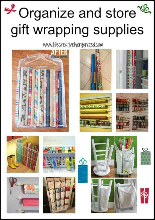 It can be frustrating to store those rolls of gift wrap and ribbons. Here are some ways to organize gift wrapping to make wrapping gifts a breeze.