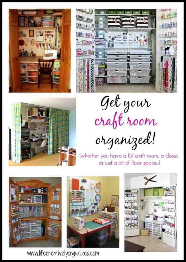 Get your craft room organized with these great ideas. Whether you have a full craft room, a closet, or just a bit of floor space, here's how to get your craft supplies organized!