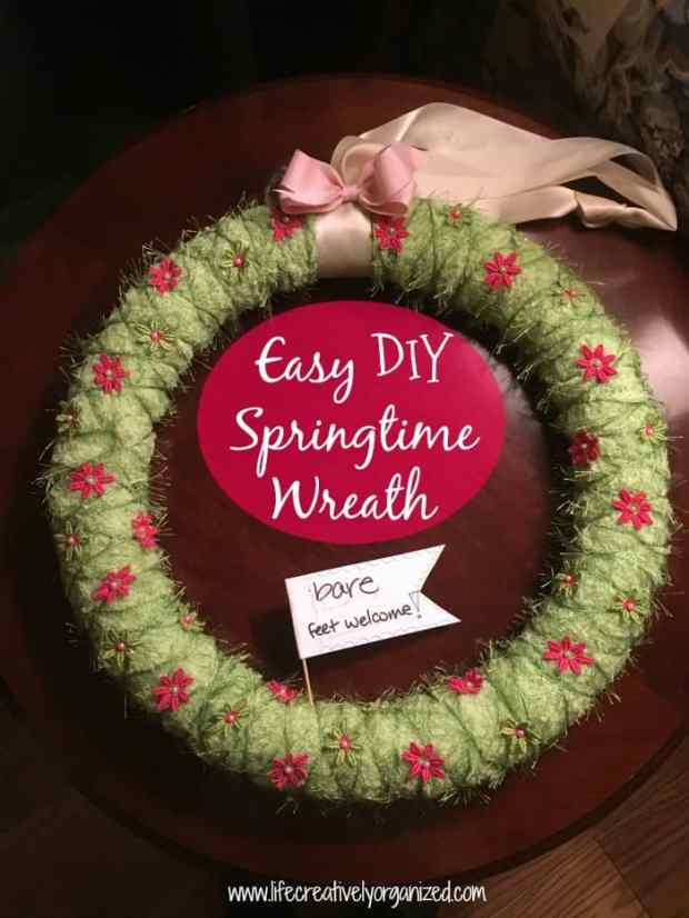 Winter's grip is finally loosening. Spring is in the air. Celebrate with this easy DIY Springtime wreath that'll make you want to walk barefoot in new grass!