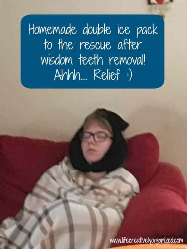 How to make a homemade ice pack for after wisdom teeth removal. Easy to make with items you already have. Your sore face (& the tooth fairy) will thank you!
