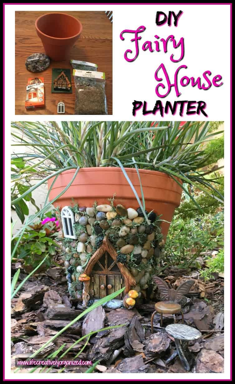 whimsical diy fairy house planter life creatively organized. Black Bedroom Furniture Sets. Home Design Ideas