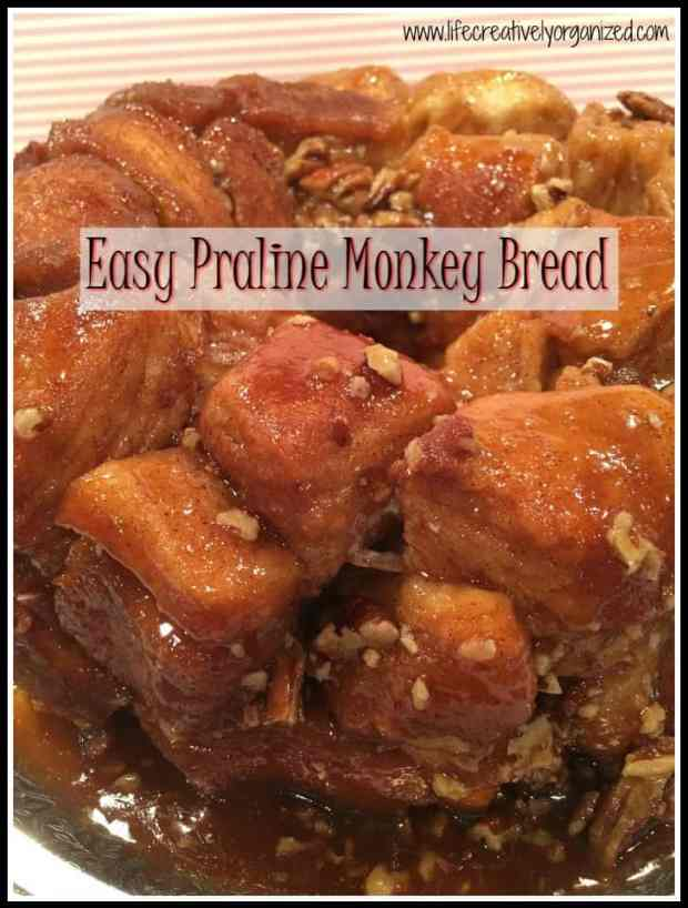 Praline monkey bread is a decadent pull apart bread chock full of pecans & buttery caramel. This classic, easy to make recipe uses Pillsbury Grands biscuits.