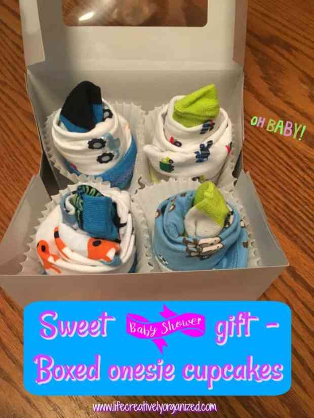 Gift wrapping 101 - Looking for a sweet and unique baby shower gift? Grab 4 onesies and matching socks to make these cute onesie cupcakes any new mom will be sure to love!