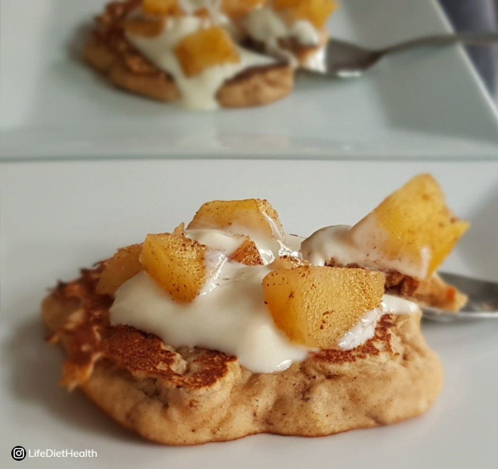 pancake topped with apple and yogurt