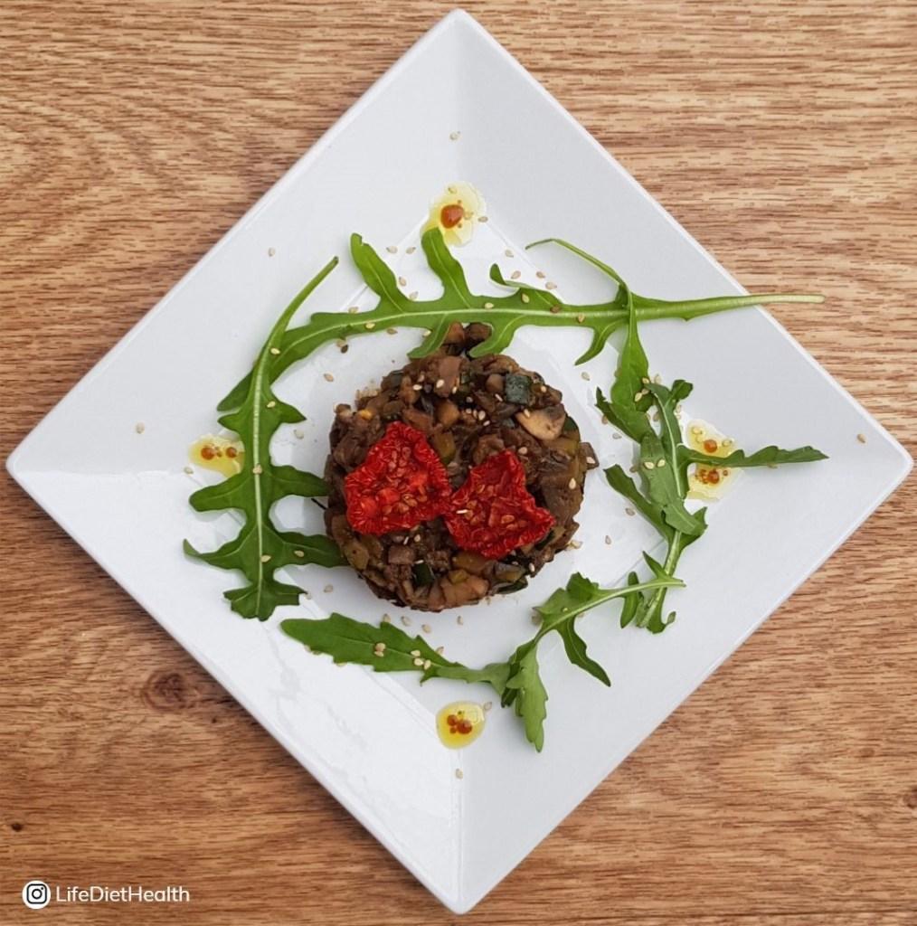 Miso veg on a white plate