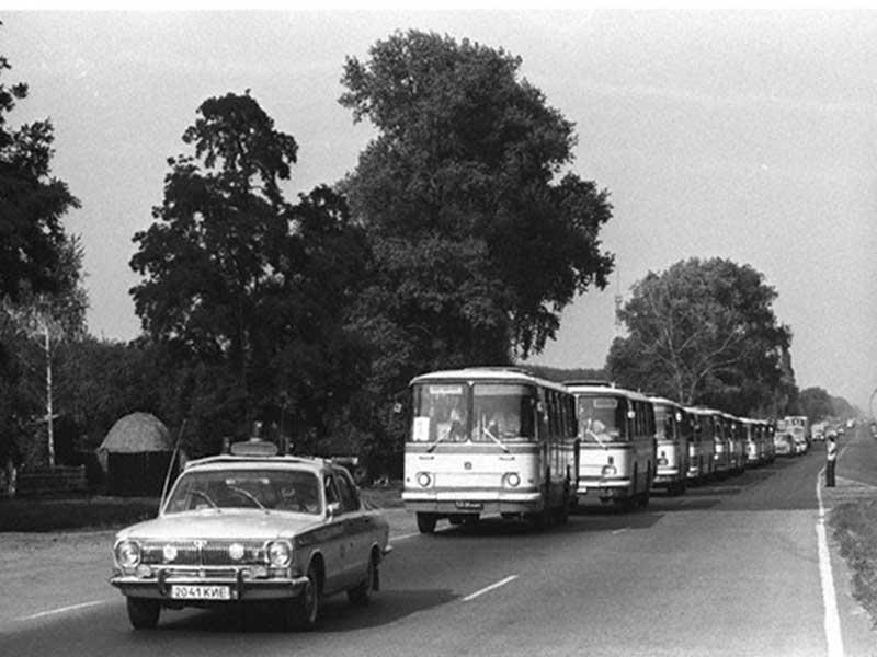 Autobus per l'evacuazione di Pripyat, per sfuggire dalle radiazioni di Chernobyl.