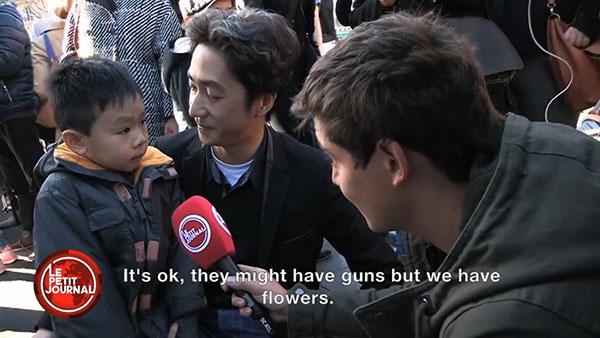 2015年11月巴黎發生恐襲後,當地一位父親安撫受驚的孩子說:「他們有槍,我們有花。」有關視頻在網絡播出後引來廣大迴響。