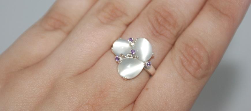 Moonstone & Amethyst 3 Stone Ring Sterling Silver