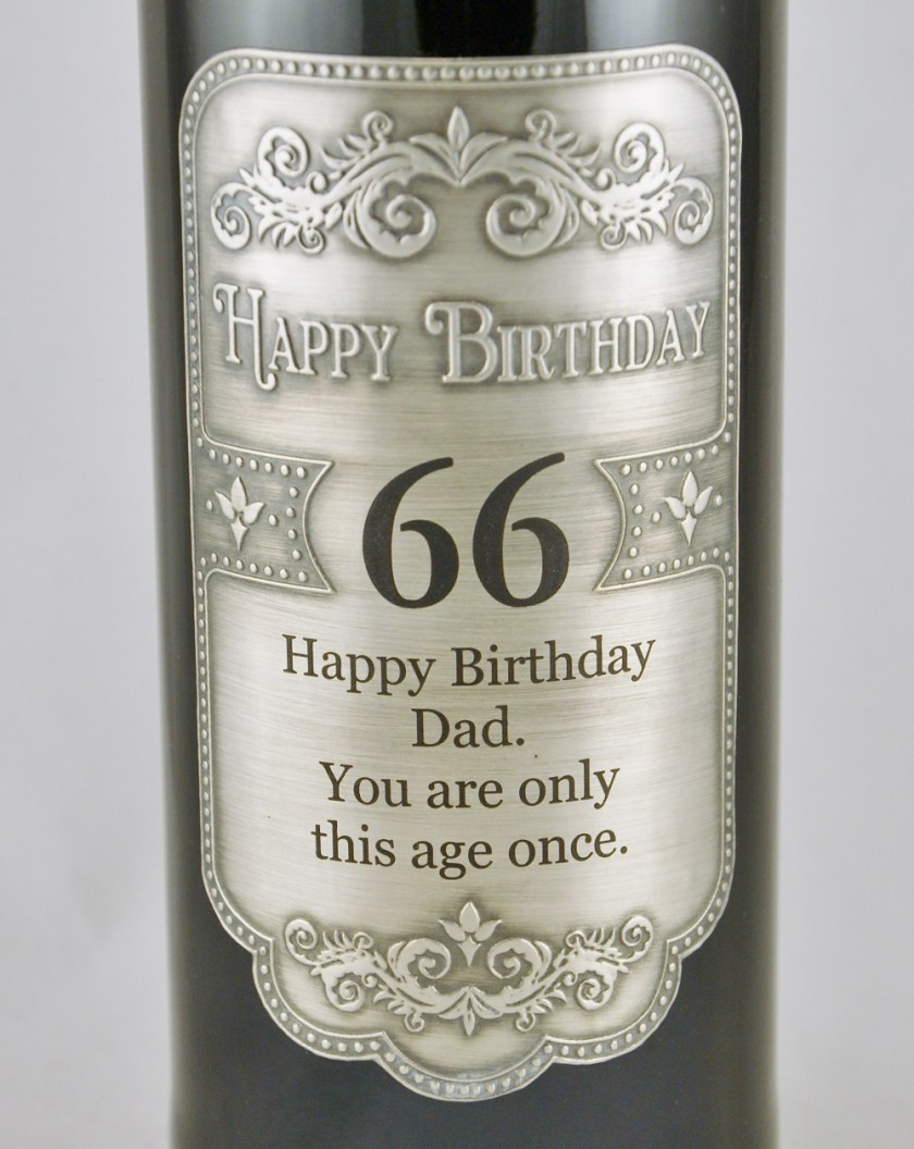 Personalised engraved pewter wine label and wine