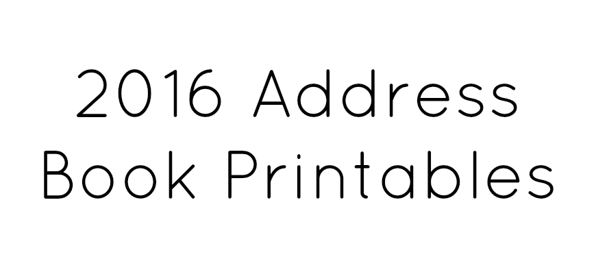 Address Book Printables