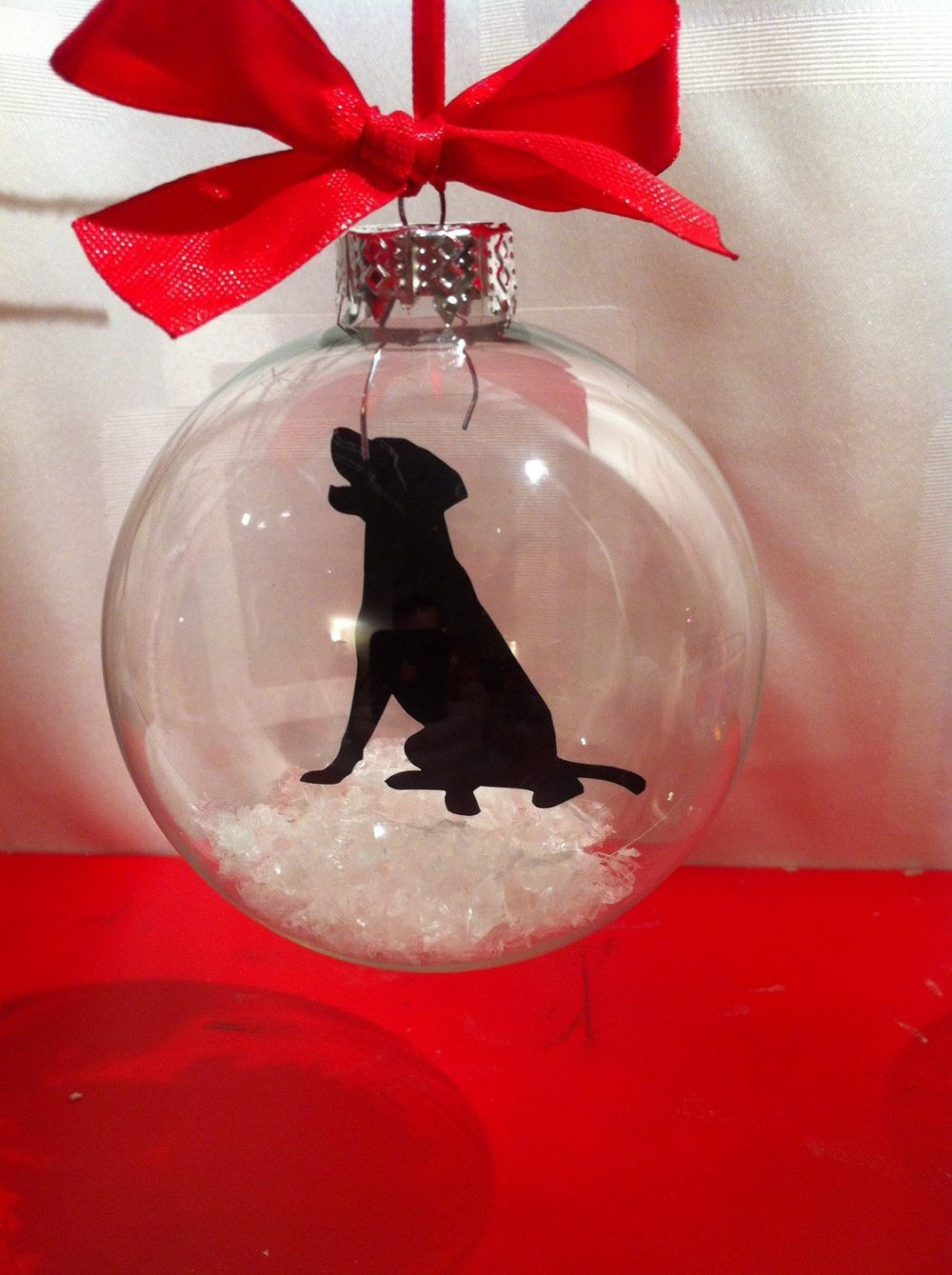 Labrador Silhouette in the Snow Pet Bauble