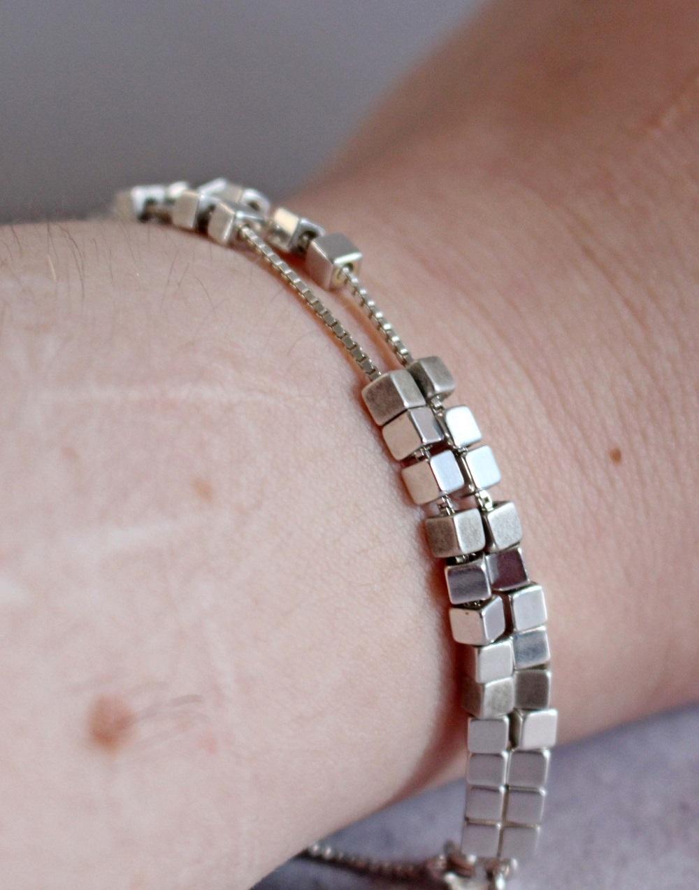 Links of London Cubist Double Row Silver Bracelet