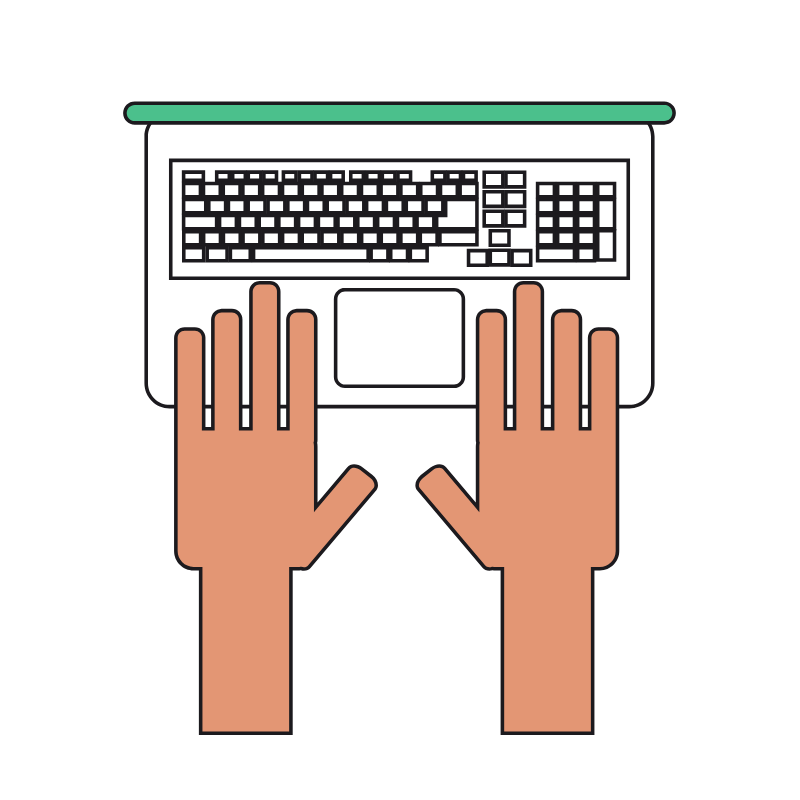 vector of a hand and keyboard