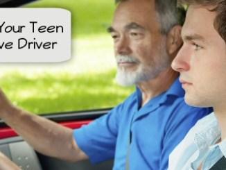 dad teaching teen to drive