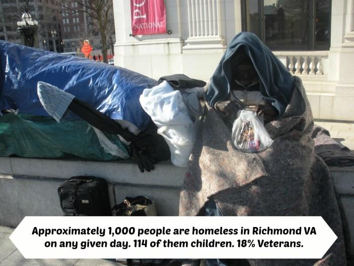 homeless man in Richmond, VA on bench downtown