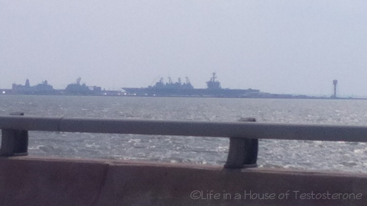 Naval Ships as we exit the tunnel
