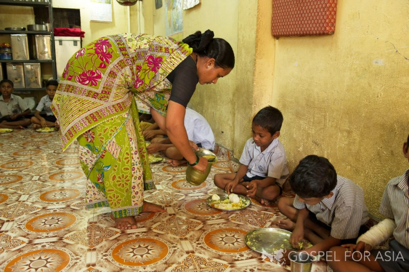 Gospel for Asia Bridge of Hope Center - Perhaps their only meal for the day
