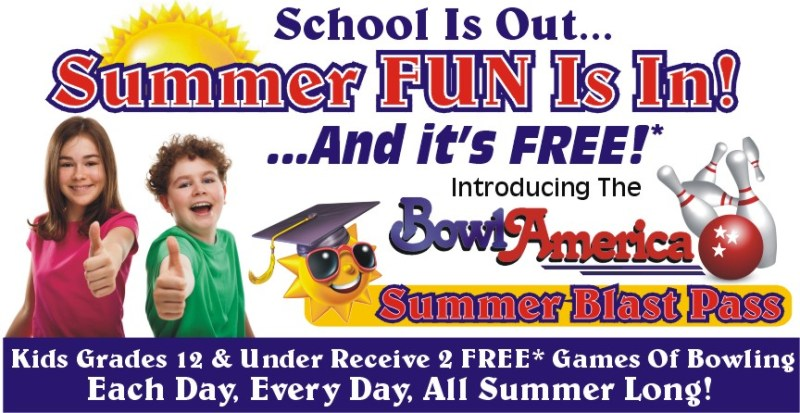 Bowl America Summer Blast Pass - Kids Grades K-12 receive 2 FREE games of bowling EVERY DAY all summer long  •|• Summer Family Fun in Central Virginia on a Budget from Life in a House of Testosterone
