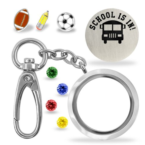 A Touch of Dazzle - School is In Locket Keychain Details