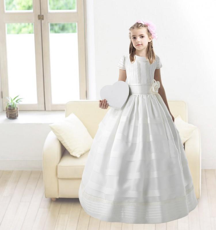 Nectarean Ball Gown Short Sleeve Hand Made Flowers Floor Length Communion Dress