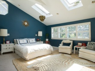 Bedroom with Skylights and Zebra Cowhide Rug