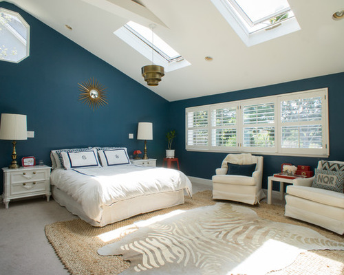 Bedroom with Skylights and Zebra Cowhide Rug from Houzz.com