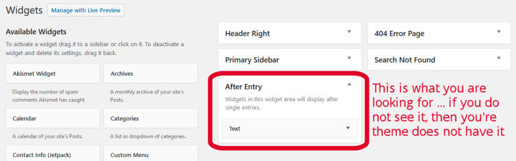 After Entry Widget - Setting Your Disclosure Statement on Every Post