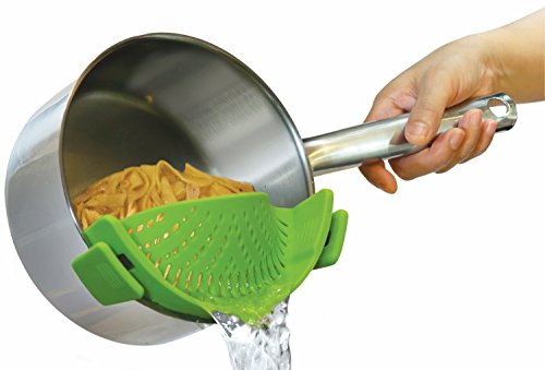 The Original SNAPN STRAIN by Kitchen Gizmo, No-hands No-Fuss Clip-On Strainer. Fits all Pot Sizes.