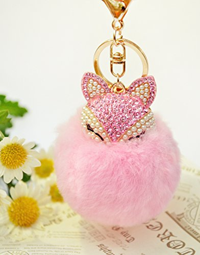 GOBUNNY Genuine Fur BallHand Therapy Stress Ball Key Chain Toys – with Amazing Touch2.5inches-Pink